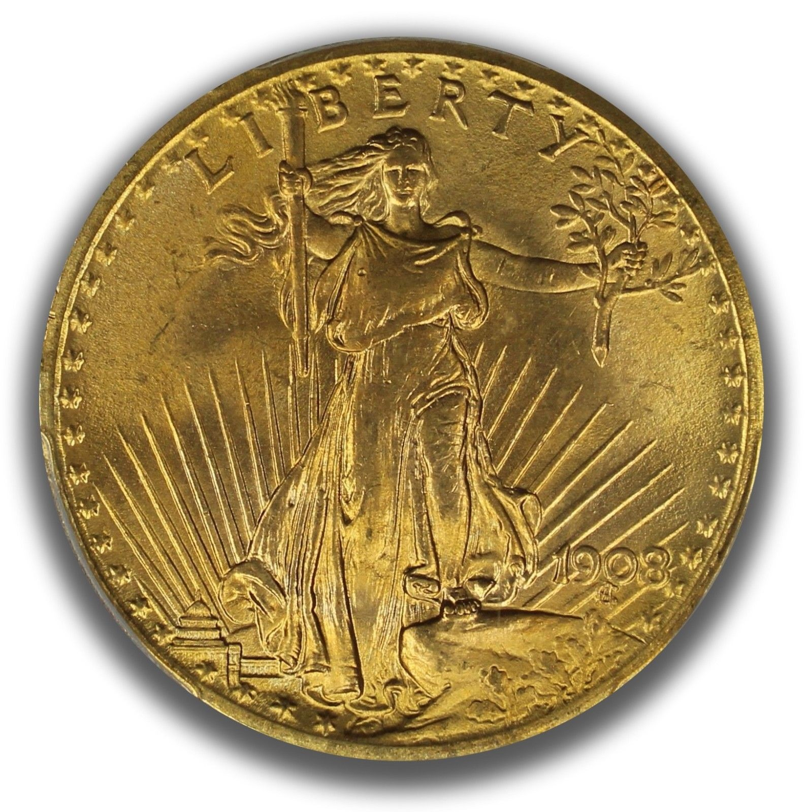 1908 $20 No Motto Gold St. Gaudens PCGS Graded MS66