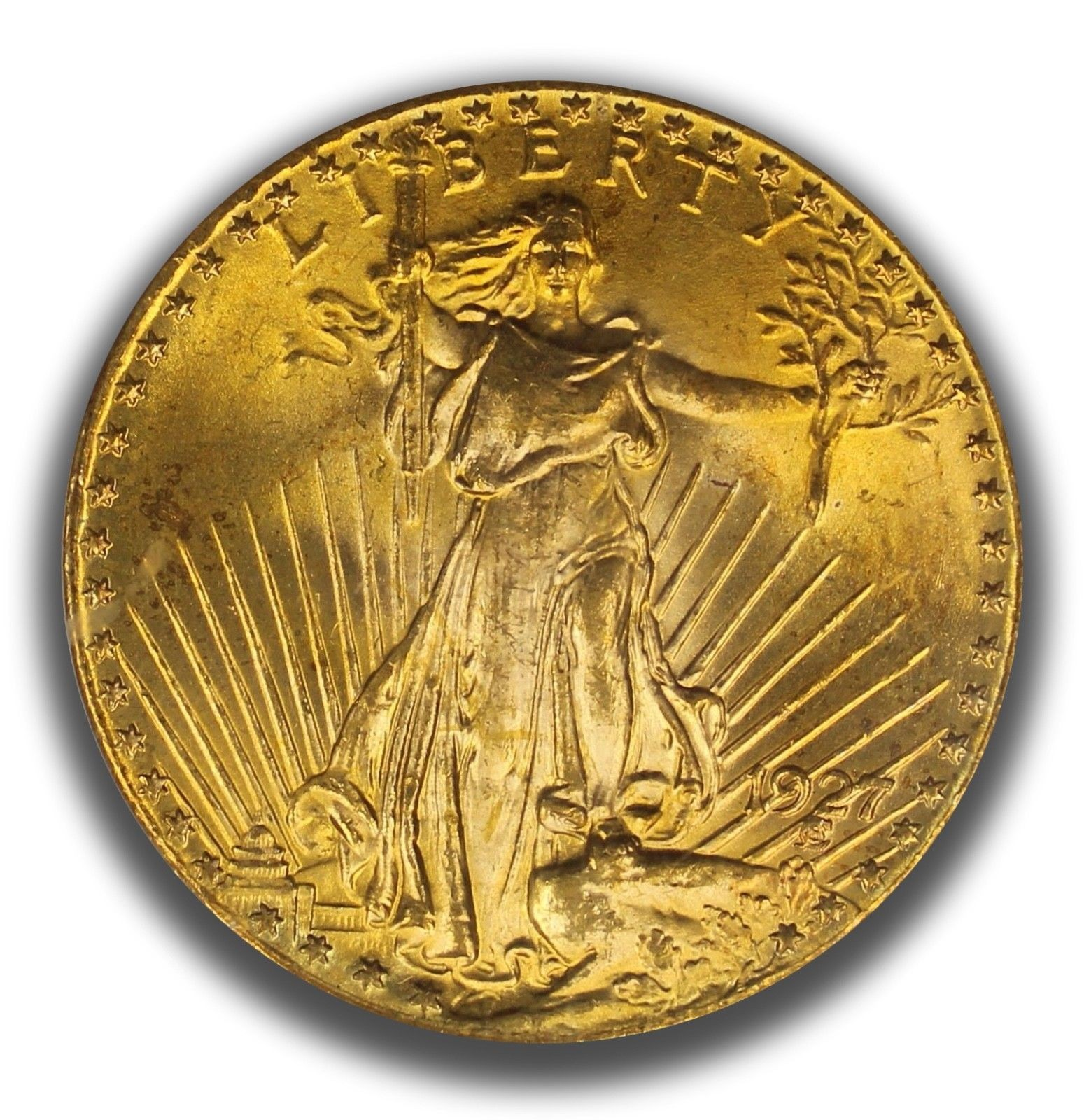1927 $20 Gold St. Gaudens Double Eagle PCGS Graded MS65 CAC Approved